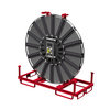 Double hose reel on transport and mounting rack