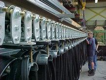 Energieversorgung eines Verschiebewagens in einer Ziegelfabrik