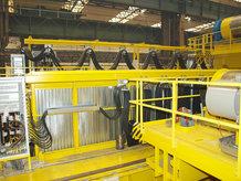 I-Träger Leitungswagensystem im Einsatz auf einem Gießkran